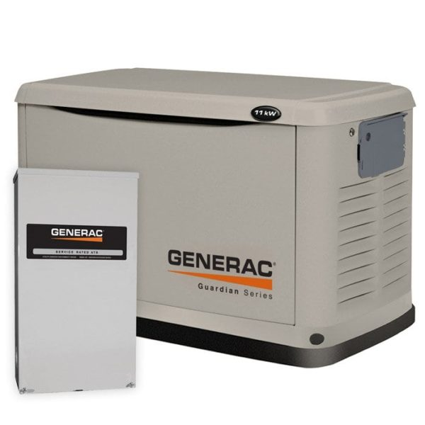Generac Guardian 11kW Standby Generator NG/LP Single Phase Steel Pre Packaged with 200 Amp Service Rated ATS | 6438